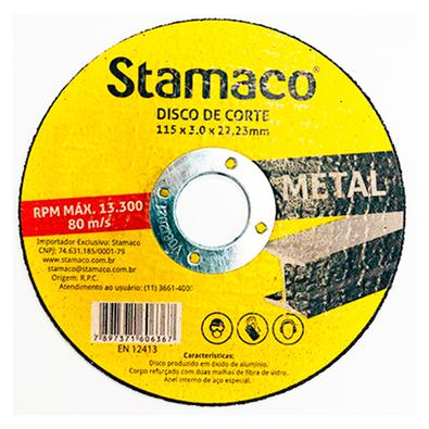 Disco De Corte Metal 115x 3.0x 22,23mm Stamaco 115mm