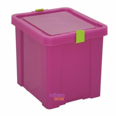 Caixa Organizadora 30L Verde Basic Rosa