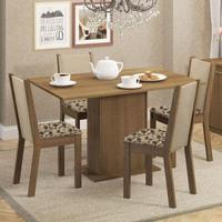 Conjunto Sala de Jantar, Madesa, Talita, Mesa Tampo de Madeira com 4 Cadeiras Rustic/Crema/Bege Marrom