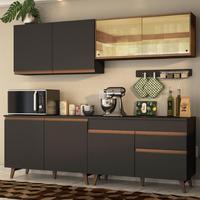 Cozinha Completa Madesa Reims 240001 com Armário e Balcão Preto/Rustic Cor:Preto/Rustic