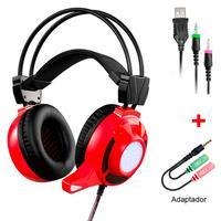 Headset Gamer DIGITAL, LED, Vermelho - MH8