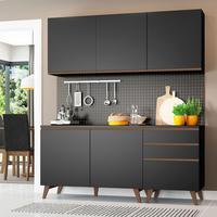 Cozinha Compacta Madesa Reims com Balcão 5 Portas 3 Gavetas Preto Cor:Preto