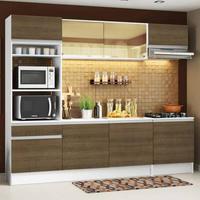 Cozinha Completa Madesa Diamante com Armário, Balcão e Tampo Branco/Rustic Cor:Branco/Rustic