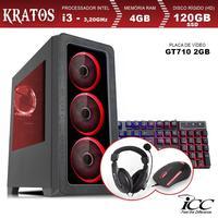 PC Gamer ICC KT2346K Intel Core I3 3,20 Ghz 4GB 120GB SSD GT710 2GB Kit Multimídia