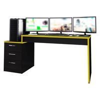 Mesa Gamer Playerxtreme Pro Preto Texturizado/amarelo - Gran Belo