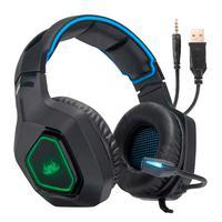 Headset Gamer Knup, Com Microfone, Com Iluminação, USB, PC, PS3, PS4, Xbox One, Azul e Preto - KP-488