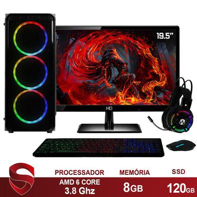 Computador PC Gamer Completo AMD 6-Core, CPU 3.8Ghz 8GB, Radeon R5 2GB, SSD 120GB, Kit Gamer Skill Monitor HDMI LED 19.5