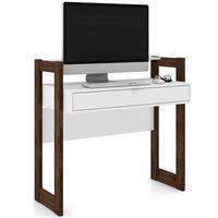 Mesa Tecno Mobili Para Computador Com 1 gaveta, Branco / Nogal - AZ1007