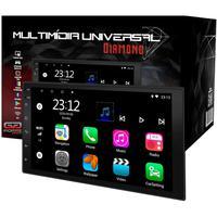Central Multimídia Universal 2 Din P/ Classic 2000 a 2015 com Android 10, MP5, Tela IPS, Wi-Fi, 16GB de Memória, USB, Acompanha Moldura