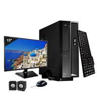 Mini Computador ICC SL2383Cm15 Intel Core I3 8gb HD 2TB DVDRW Kit Multimídia Monitor 15 Windows 10