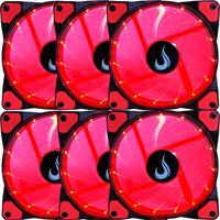 Kit com 6 Cooler Fan Rise Mode 120mm, Led Vermelho - Rm-wn-01-br