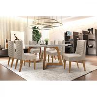 Conjunto Sala de Jantar com Mesa Safira 180 e 6 Cadeiras Rufato