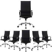 Conjunto com 6 Cadeiras Presidente Boston Giratória Esteirinha com Regulagem de Altura