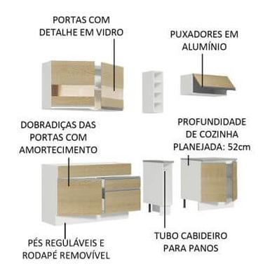 Cozinha Completa Madesa Parma com Armário e Balcão (Sem tampo e Pia) Branco/Saara Cor:Branco/Saara