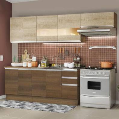 Cozinha Completa Madesa Marcela Com Armário e Balcão (Sem Tampo e Pia) Rustic/Rustic/Saara Cor:Rustic/Rustic/Saara