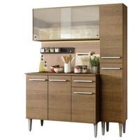 Cozinha Compacta Madesa Emilly Force com Armário, Balcão e Paneleiro Rustic Cor:Rustic