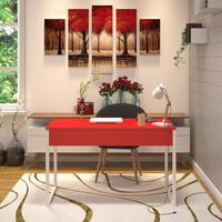 Mesa Em Metal Com Tampo De Aço Colorido   Tam: 120x60   Cor: Vermelho E Branco