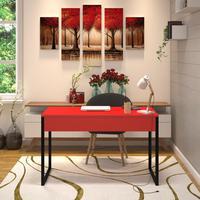 Mesa Em Metal Com Tampo De Aço Colorido   Tam: 80x60cm   Cor: Vermelho E Preto
