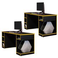 Kit 02 Mesas Para Computador Notebook Pc Gamer Destiny F01 Preto Amarelo - Lyam Decor