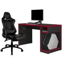 Kit Mesa Para Pc Gamer Legend Preto Vermelho E Cadeira Gamer Tgc12 H01 Thunderx3 Preto - Lyam Decor