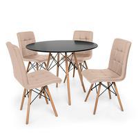 Kit Mesa Jantar Eiffel 80cm Preta + 04 Cadeiras Gomos - Nude