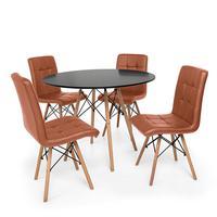 Kit Mesa Jantar Eiffel 80cm Preta + 04 Cadeiras Gomos - Marrom