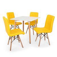 Kit Mesa Jantar Eiffel 80x80 Branca + 04 Cadeiras Gomos - Amarela