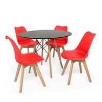 Kit Mesa Jantar Eiffel 80cm Preta + 04 Cadeiras Leda - Vermelha
