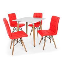 Kit Mesa Jantar Eiffel 80x80 Branca + 04 Cadeiras Gomos - Vermelha