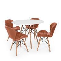 Kit Mesa Jantar Eiffel 100cm Branca + 04 Cadeiras Slim - Marrom