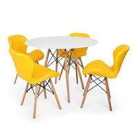 Kit Mesa Jantar Eiffel 80cm Branca + 04 Cadeiras Slim - Amarela