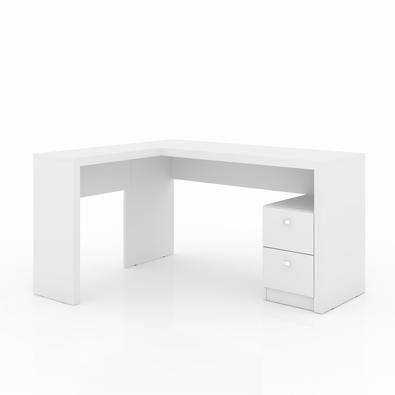 Mesa de Canto para Escritorio com 2 gavetas Me4129 Branco /Branco - Tecno Mobili