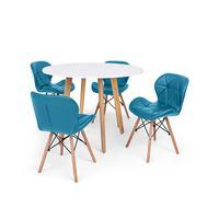 Conjunto Mesa De Jantar Laura 100cm Branca Com 4 Cadeiras Eames Eiffel Slim - Turquesa
