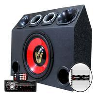 Caixa Trio Som Falante 12 Radio Bluetooth Usb Modulo Taramps Caixa Compet Vermelho