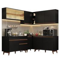 Cozinha Completa de Canto Madesa Reims 382001 com Armário e Balcão Preto Cor:Preto