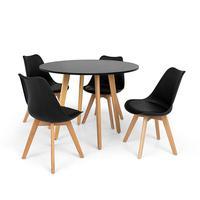 Conjunto Mesa De Jantar Laura 100cm Preta Com 4 Cadeiras Eames Wood Leda - Preta