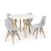 Conjunto Mesa De Jantar Laura 100cm Branca Com 4 Cadeiras Charles Eames - Cinza