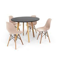 Conjunto Mesa De Jantar Laura 100cm Preta Com 4 Cadeiras Charles Eames - Nude