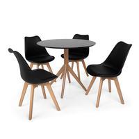 Conjunto Mesa De Jantar Maitê 80cm Preta Com 4 Cadeiras Eames Wood Leda - Preta