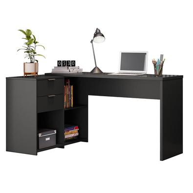 Mesa De Canto Escrivaninha Em L Notavel Com 2 Gavetas 3 Portas Para Escritorio Preto
