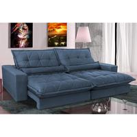 Sofa Retrátil E Reclinável 2,12m Com Molas Ensacadas Cama Inbox Soft Tecido Suede Azul