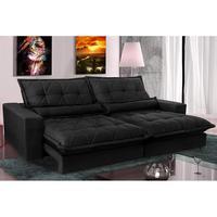 Sofa Retrátil E Reclinável 2,32m Com Molas Ensacadas Cama Inbox Soft Tecido Suede Preto
