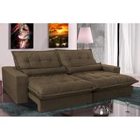 Sofa Retrátil E Reclinável 2,72m Com Molas Ensacadas Cama Inbox Soft Tecido Suede Café