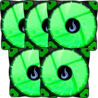 Kit com 5 Cooler - Fan Rise Mode, 120mm, Led Verde - Rm-wn-01-bg