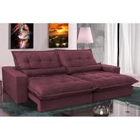 Sofa Retrátil E Reclinável 3,12m Com Molas Ensacadas Cama Inbox Soft Tecido Suede Vinho