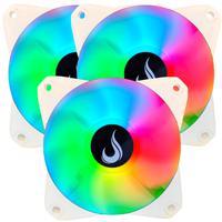Kit 3x Cooler Fan, Branco, Led Rgb, 120mm, Rise Mode - RM-MB-02-12