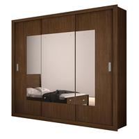 Guarda Roupa Casal Veneza Top Luxo 3 Portas Espelho Rufato