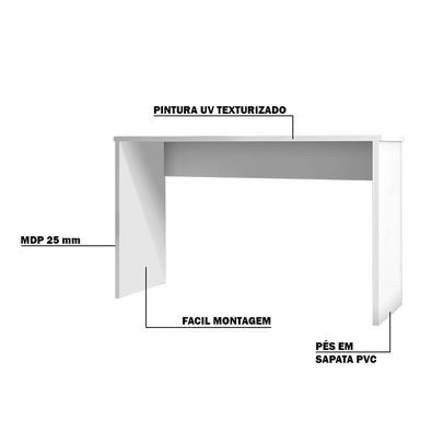 Mesa Para Escritório Home Office Com Gaveta Emma Branco Texturizado - Gran Belo
