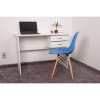 Kit Escrivaninha Com Gaveteiro Branca + 01 Cadeira Charles Eames - Azul