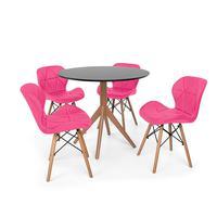 Conjunto Mesa De Jantar Maitê 80cm Preta Com 4 Cadeiras Eames Eiffel Slim - Rosa